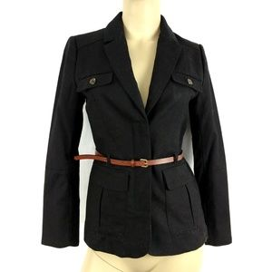 H&M New Black Belted Womens Career Jacket Size 4
